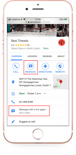 Google my business messaging for retailers